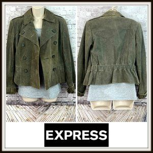 Express Brown Leather Double Breasted Jacket